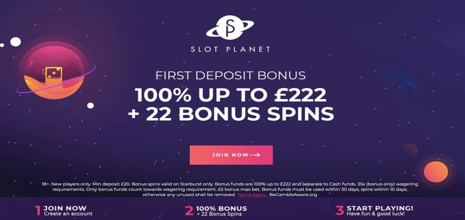 Bonus d'inscription au casino Slot Planet