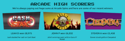 Arcade Spins sign up bonus