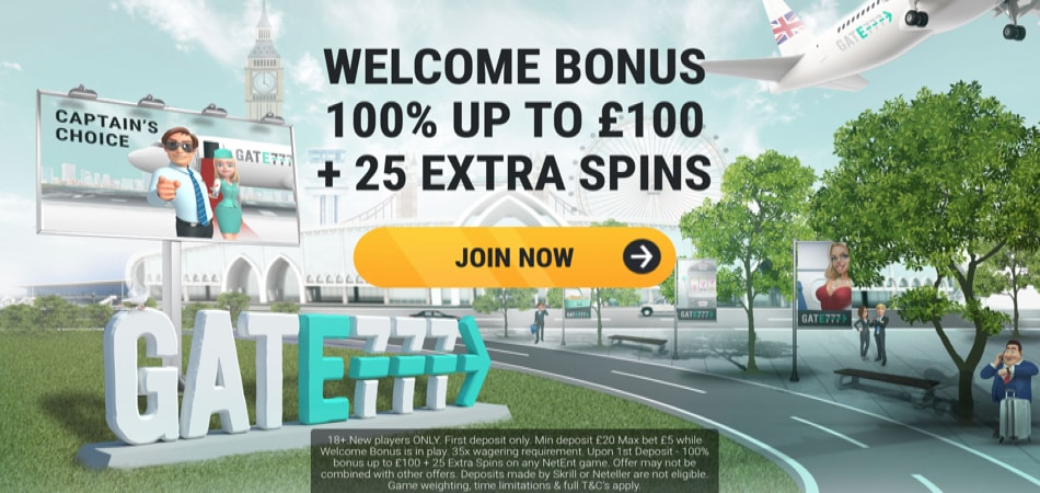 Gate 777 free spins welcome offer
