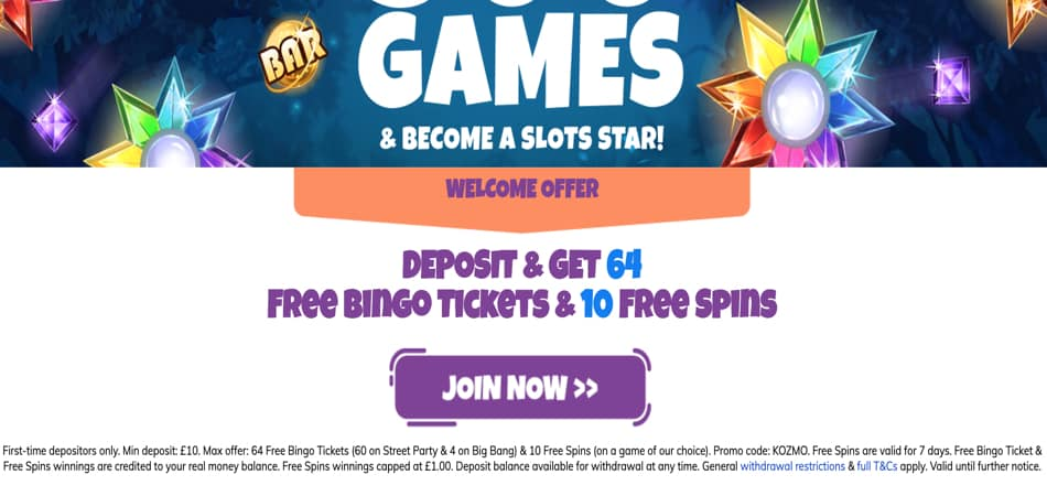 Kozmo Bingo promo code for new players