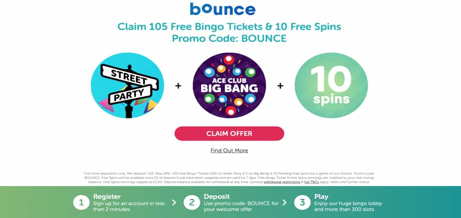 Bounce Bingo promo code for 10 free spins