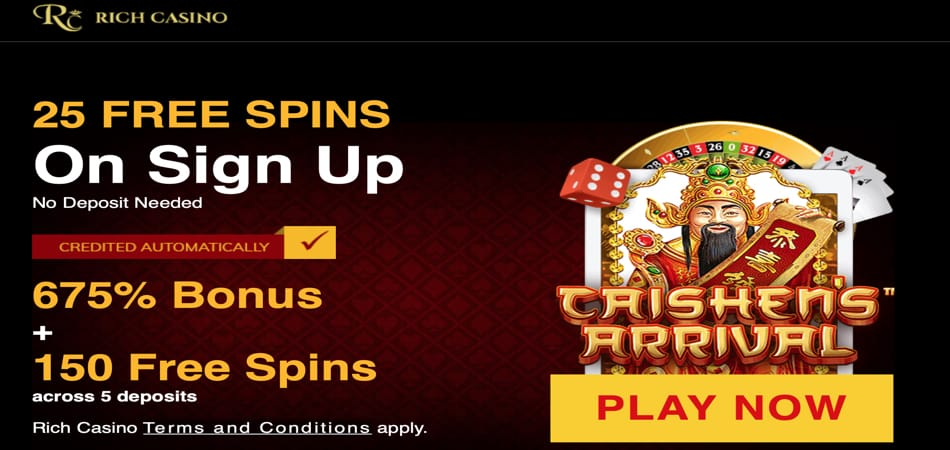 25 Spins + Bitcoin tairgse ann an Rich Casino