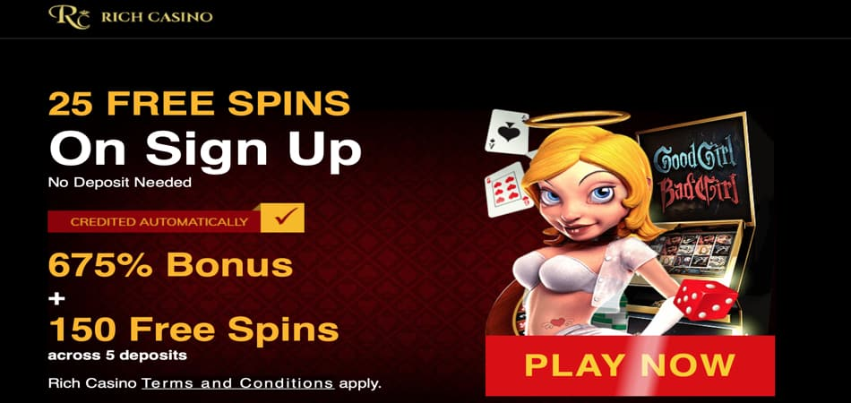 25 free spins on registration in Rich Casino