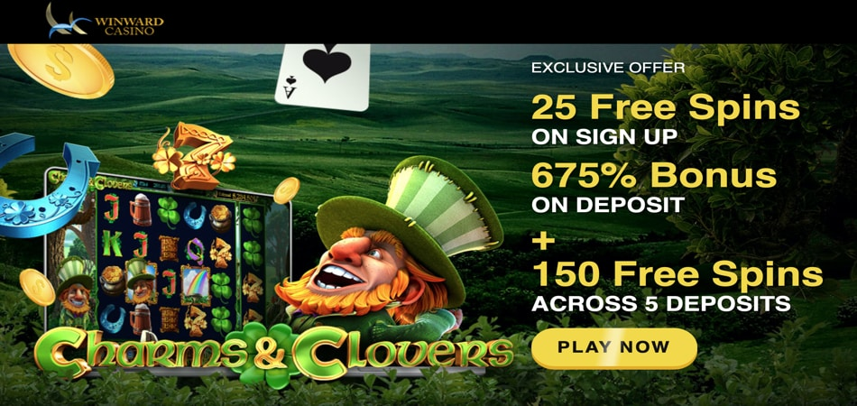 Charms and Clovers Free Spins in Winward Casino