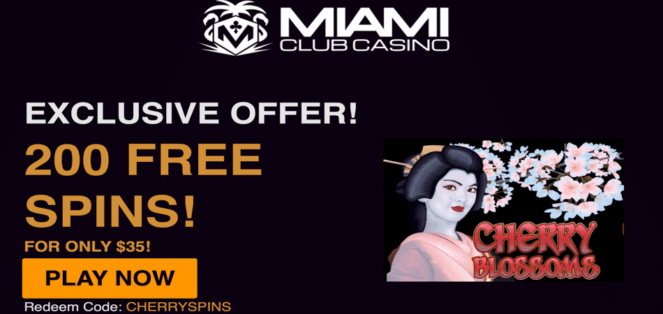 Cherry Blossoms free spins bonus code at Miami Club