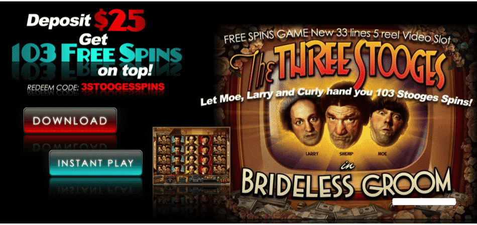 The Three Stooges free spins bonus code at Slotocash