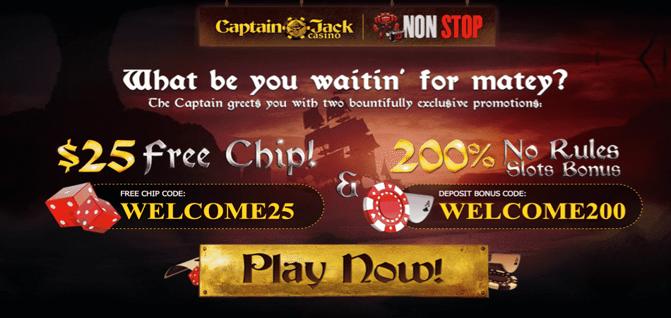 captain jack 25 free chip bonus code