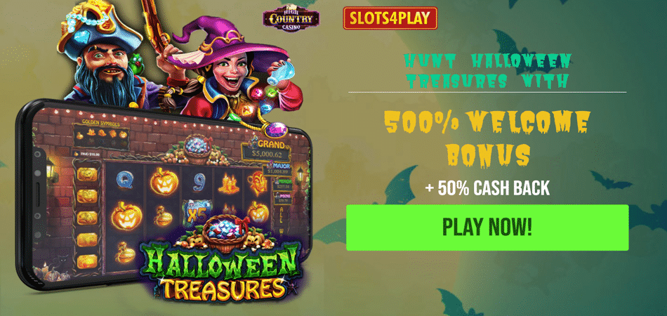 halloween treasures slot machine cash back bonus code