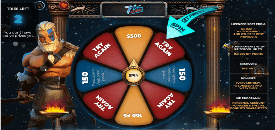 wheel of fortune bonus at 7bitcasino