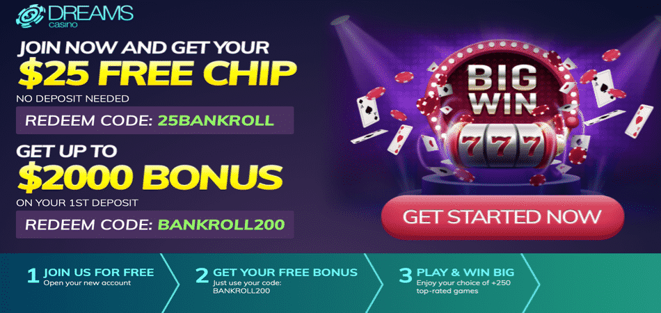 $25 no deposit bonus code at dreams casino