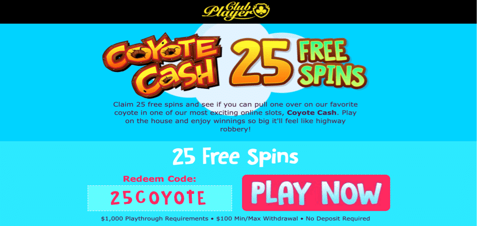 coyote cash free spins offer