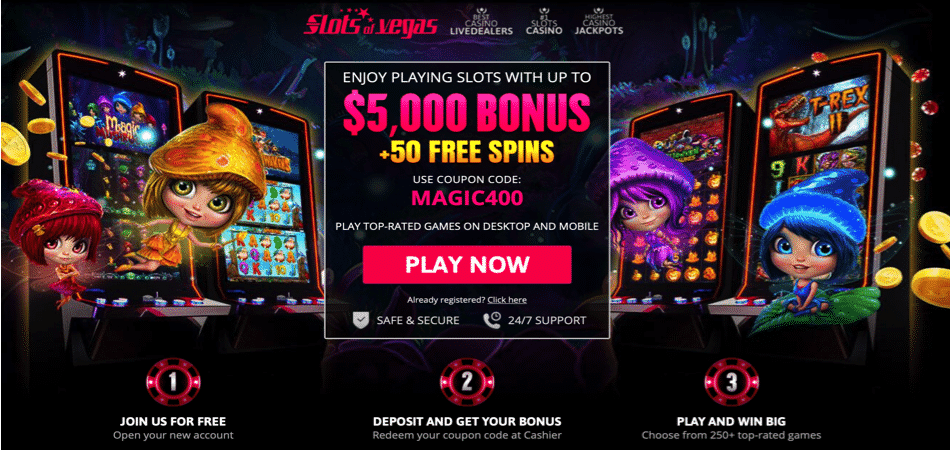 magic mushrooms free spins offer at slots of vegas casino