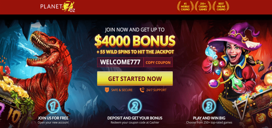 55 free spins at planet 7 oz casino