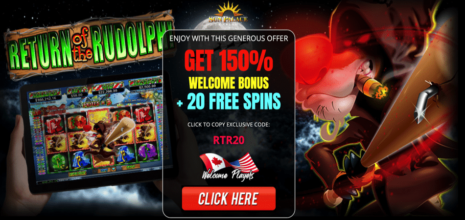 return of the rudolph free spins bonus code at sun palace