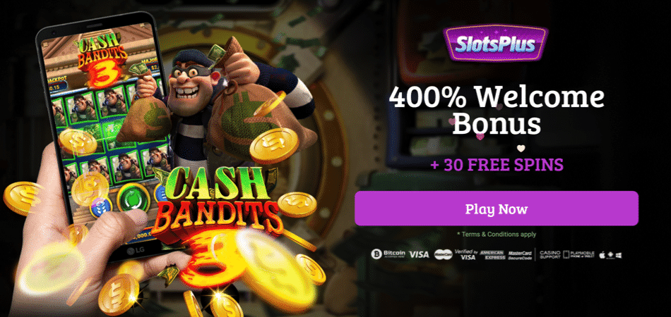 30 free spins on cash bandits 3 at slots plus