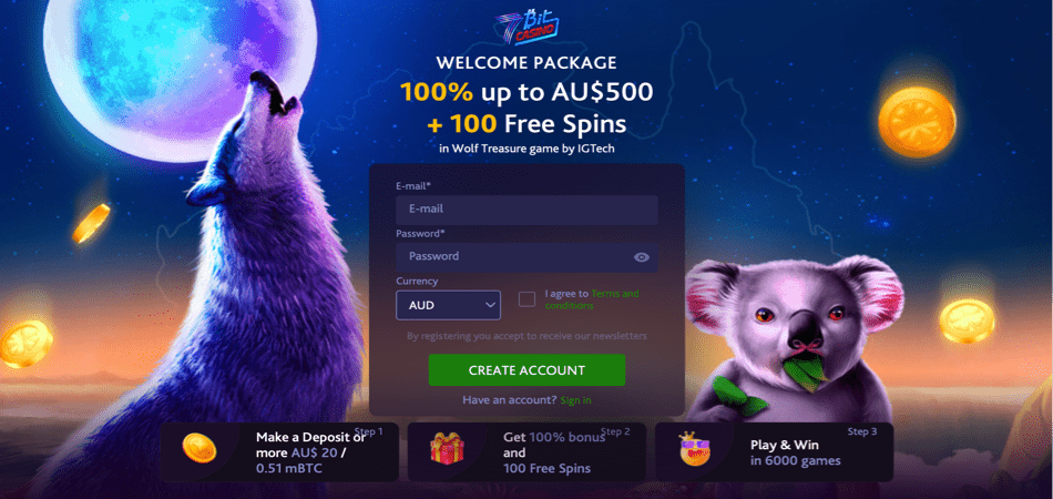 100 free spins on wolf treasure new offer australia