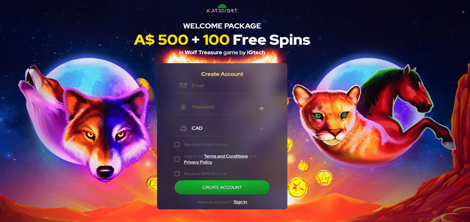 A$500 + 100 Spins for AU an NZ players - KatsuBet
