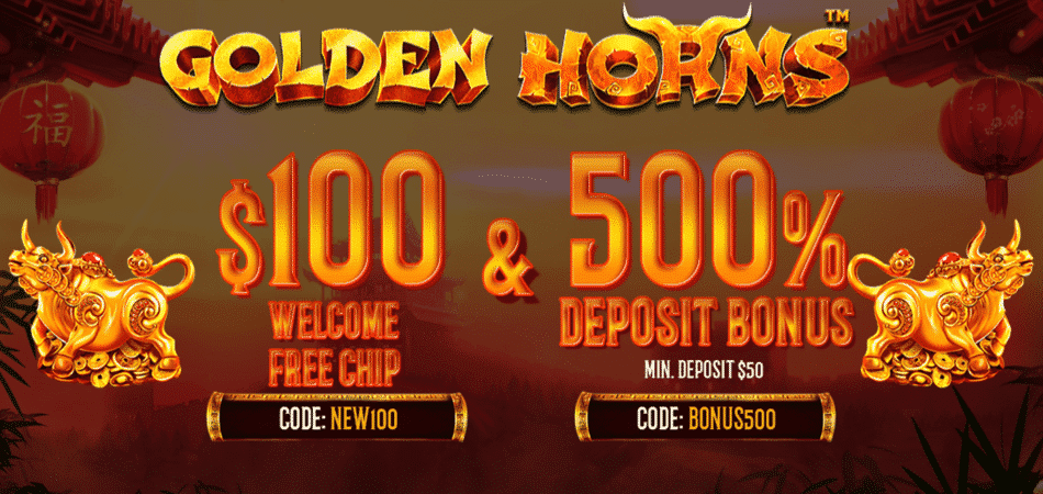 golden horns free chip at vegas rush