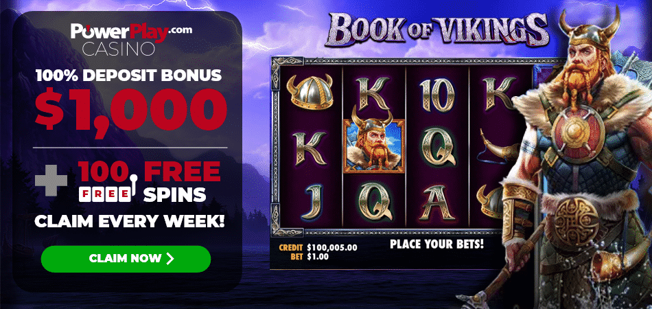 100 free spins on Book of Vikings - Power Play